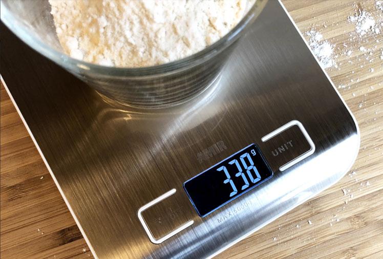Anzeige der digitalen Küchenwaage im Test